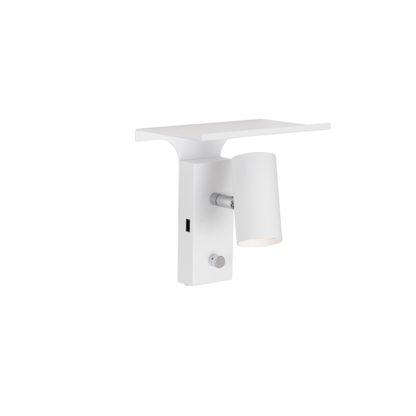 Tyson veggspot hvit m/hylle og USB