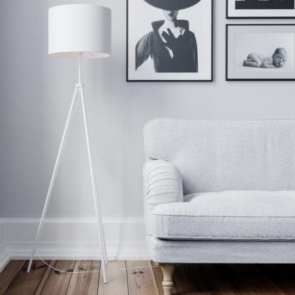 Rina gulvlampe hvit m/skjerm