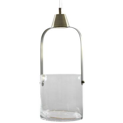 Gro blomsterpendel glass/antikk
