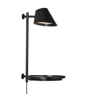Stay vegglampe sort m/USB
