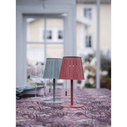 Halvar bordlampe solcelle/USB rød